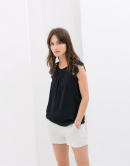 Casual Three Colors Lace Sleeves Chiffon T-shirt Tops