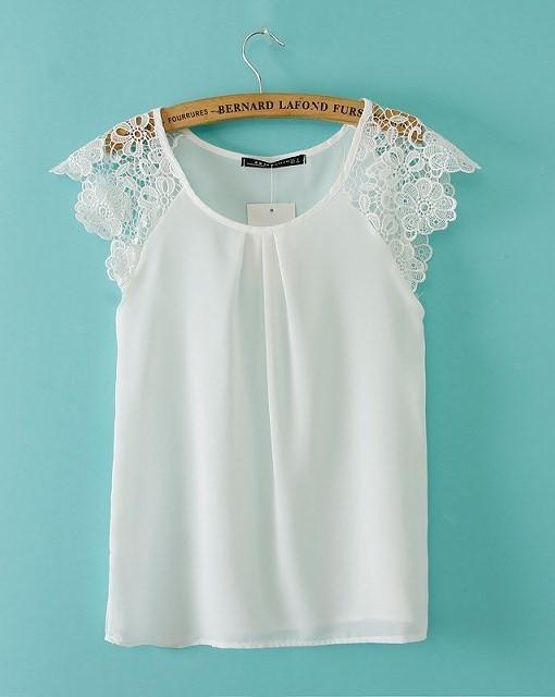 Casual Three Colors Lace Sleeves Chiffon T-shirt Tops
