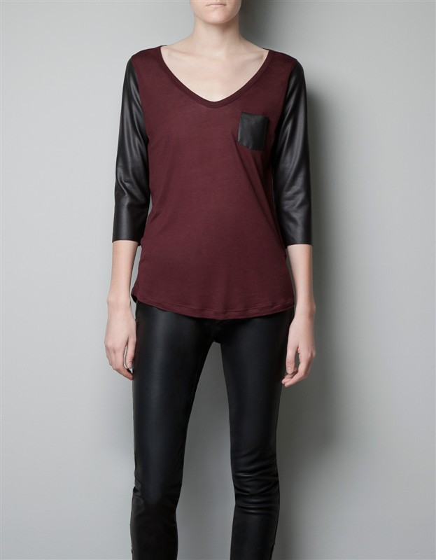 Casual V-neck Knitwear with PU sleeves ASOS Inspired Pure color Sweater