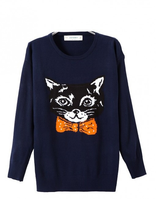 Cat head Pattern Sweater Knit Pullovers Casual Knitwear -