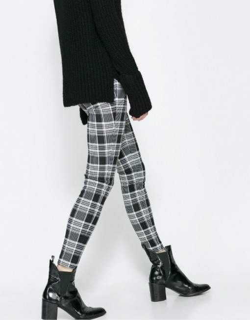 Checkers Pattern Elastic Skinny Pants ASOS Inspired Casual Trousers -