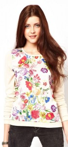 Chiffon Floral Prints Casual Knitted Sweater Pullovers -
