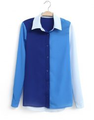 Color Crash Casual Chiffon Blouse Shirts -