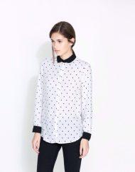 Color Patchwork Turn down Collar Polka dots Prints Chiffon Shirt ASOS Inspired Casual Shirt-