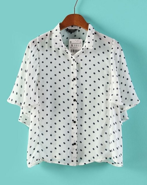 Top Shop Inspired Dots Prints Batwing Sleeve Chiffon Blouse