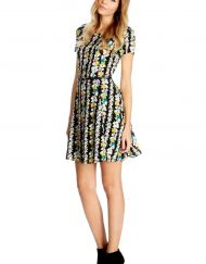 Top Shop Inspired Floral Short Sleeves O-Neck Above knee Pleated Dress with Sashes