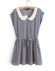 Top Shop Inspired Rabbits Printed Peter Pan Collar Short Sleeves Above Knee Pleated Dress with Pockets&Sashes