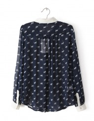 Top Shop Inspired White Horse Prints Chiffon Blouse with Peter Pan collar shirts -