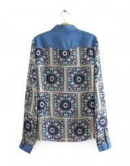 Denim Patchwork Vintage Flower Pattern Blouse Leisure Shirt -