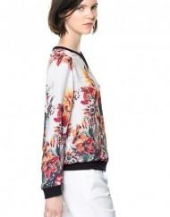 Big Flower Prints O-neck Long Sleeves Chiffon Blouse Casual Shirts -