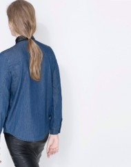 Color Patchwork Faux Leather Collar Denim Shirt ASOS Inspired Casual Jeans Blouse-