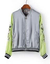 Embroidery Flower Zipper Bomber Jackets ASOS Inspired Outwear Coats