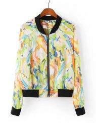 Flower Prints Chiffon Zipper Bomber Jackets ASOS Inspired Outwear Coats