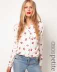 Hot Red Lips Casual long sleeves Shirts Leisure Blouse
