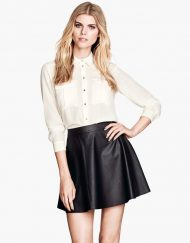 Imitation Pleated Leather Mini Skirt