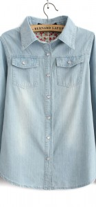 Light Blue Denim Shirt With Two Pockets Casual Jeans Blouse -