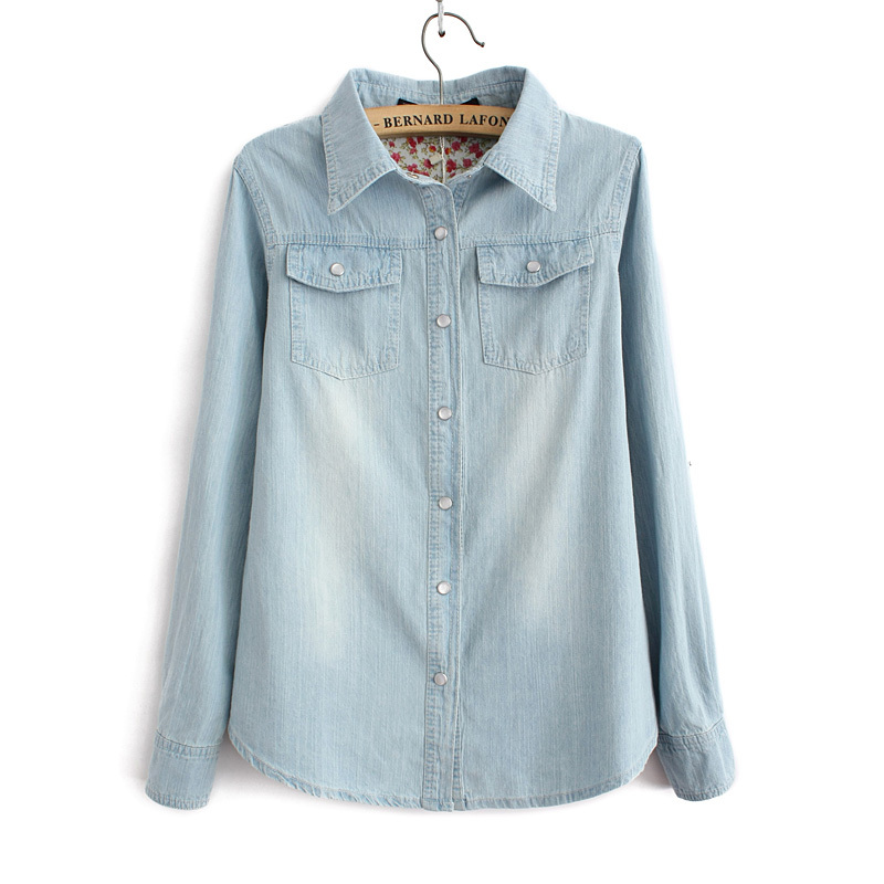 83f3f72d7 Light Blue Denim Shirt With Two Pockets Casual Jeans Blouse – | Avery  Couture