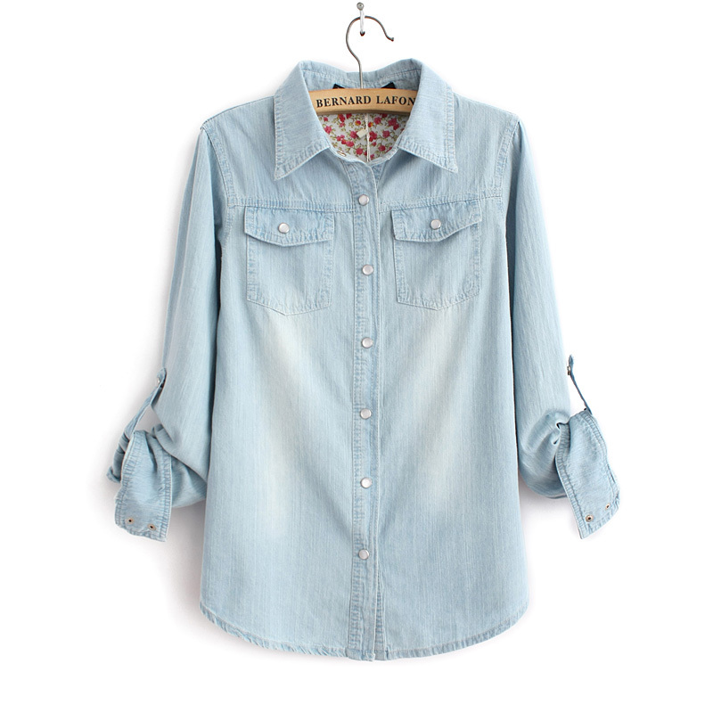 Light blue denim shirt with two pockets casual jeans for Ladies light denim shirt