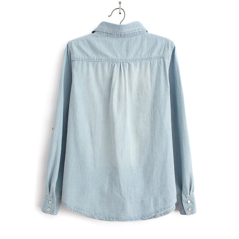 45fe593c3 Light Blue Denim Shirt With Two Pockets Casual Jeans Blouse ...
