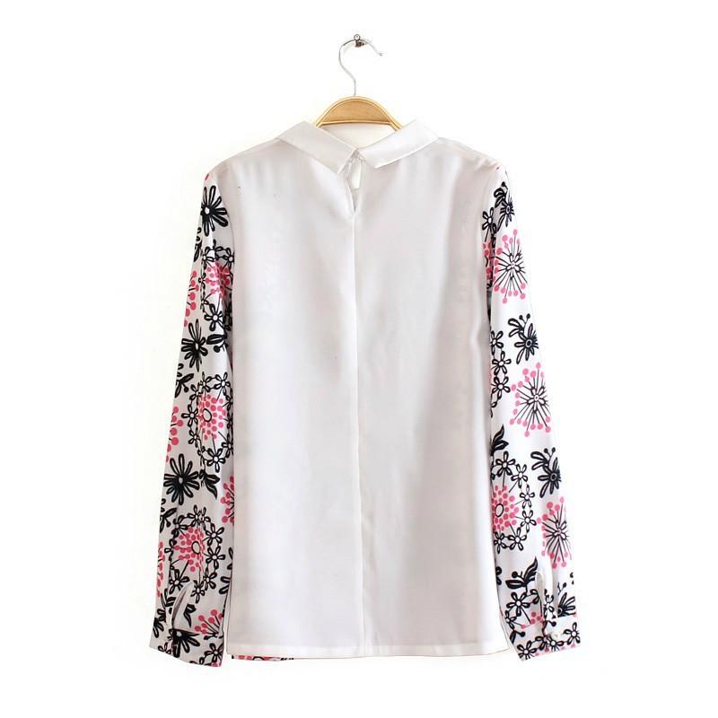 Peter pan collar casual flower pattern blouse leisure for Peter pan shirt pattern