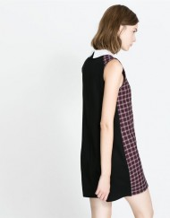 Plaid Pattern Sleeveless Peter pan Collar Combined Tank Dress DRB