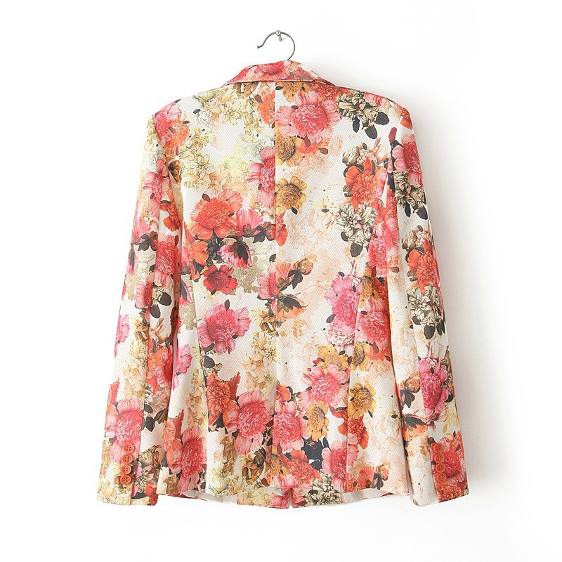 Single Button Red Flower Prints PIQUE Blazer ASOS Inspired Casual Coat BL