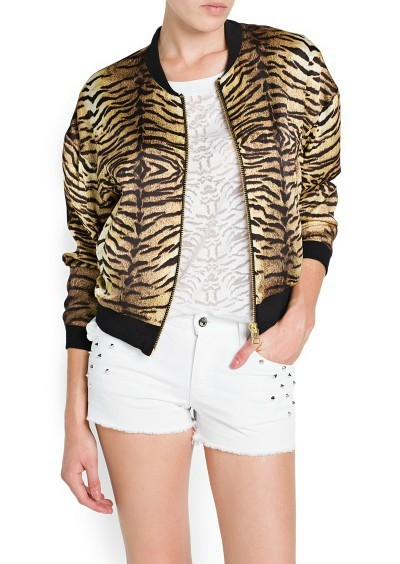 Tiger Prints Leisure Bomber Jackets ' Coats BL