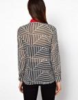 Triangle Stiped Prints Chiffon Blouse shirts -