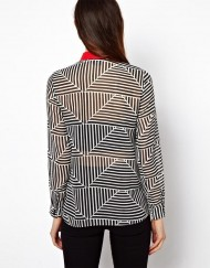 Triangle Stiped Prints Chiffon Blouse shirts -