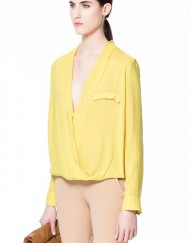 V-neck Pure color DRAPED Blouse Leisure Shirts Three colors -I