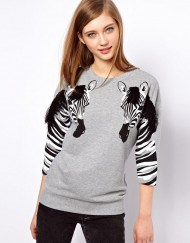Zebra Prints Three quarter Sleeves Hoodies ASOS Inspired Leisure Tops -