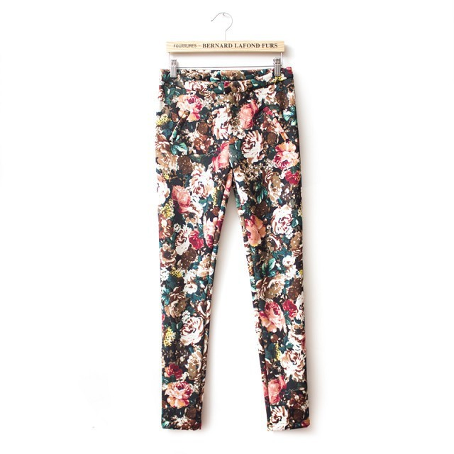 Floral Pattern Skinny Pants ASOS Inspired Casual Pencil Trousers