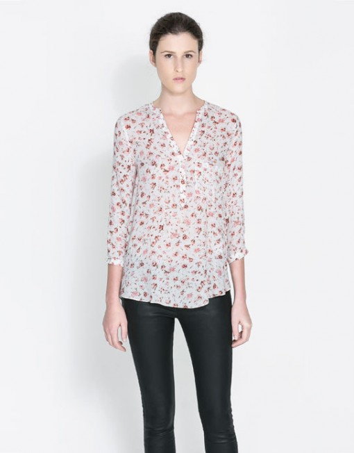 Flower Prints Leisure Pockets Blouse Shirts -