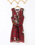 Flower and Plaids Printed Chiffon Tank Dress  Colors