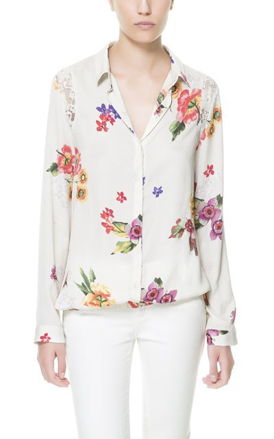 Flower prints Chiffon Blouse with lace on Shoulder Shirts -I