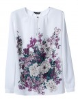 Oriental Flower Prints Chiffon Blouse Casual Shirts -