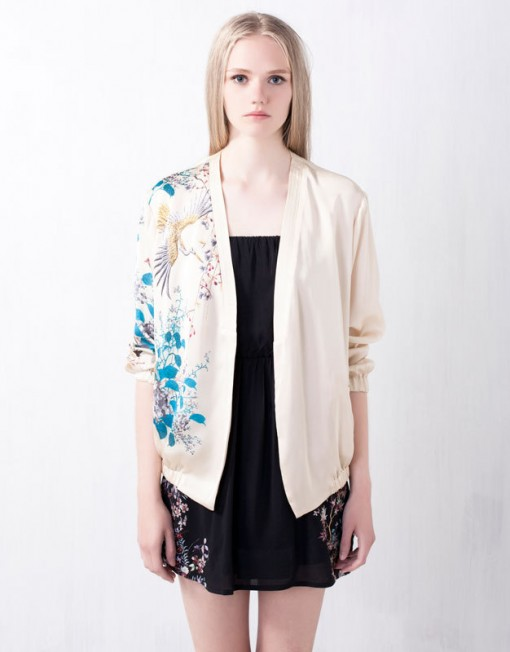 Oriental Flower Prints V-Collar Leisure Jackets ' Coats BL