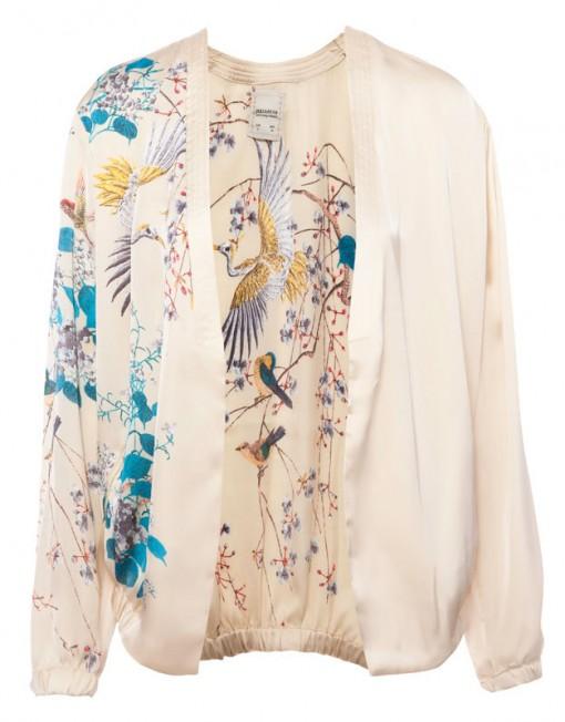 Oriental Flower Prints V-Collar Leisure Jackets ' Coats BL