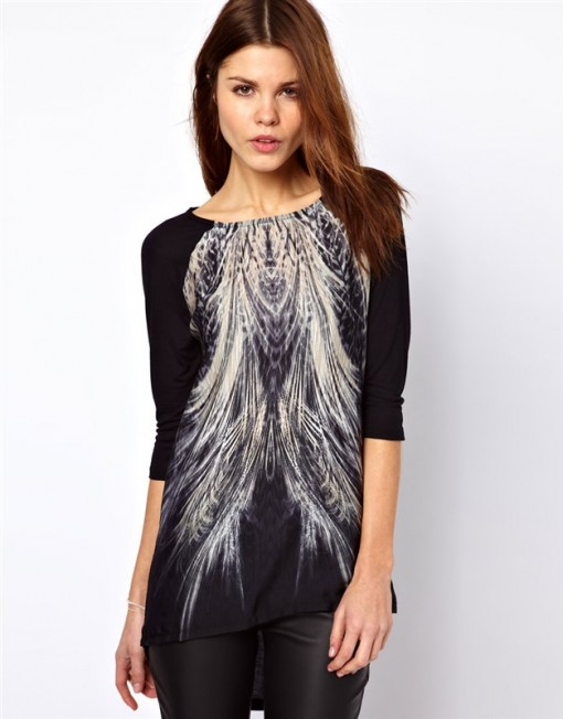 Peacock Pattern Casual Tops Leisure Tees-