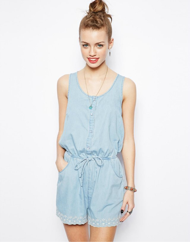 Sleeveless O Neck Short Jumpsuits Girls Pants Trousers With