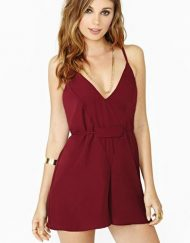 Sleeveless Sexy V-Neck Short Jumpsuits Chiffon Pants Trousers with Sashes