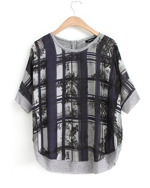 Snake Big Plaid Pattern Short Sleeves Chiffon Combined Knit Casual T-shirts ' Tops -