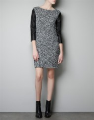 Three Quarter Sleeves Leather Sleeves Knit Dress