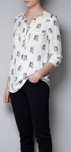 Tiger Head Prints Casual Cotton Blouse Shir