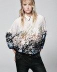 Vintage Flora Landscape Printed Casual Chiffon Blouse Long Sleeve Shirt