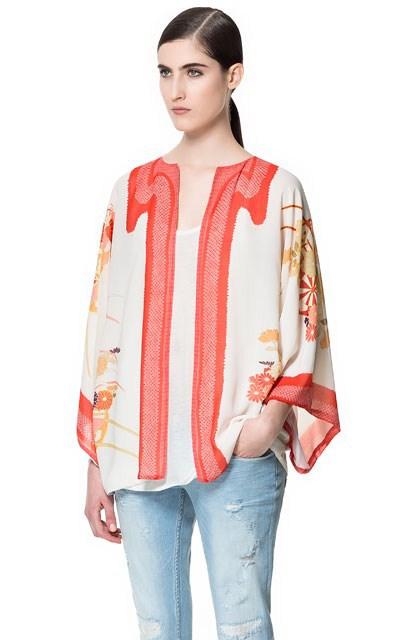 Vintage Floral Prints Chiffon Kimonos Loose Coats BL