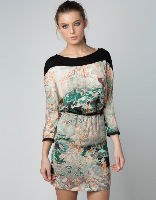 Vintage Floral Waist-collected Dress with Sexy Backless Design DressDRB