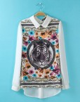 Vintage Tiger Prints Casual Chiffon Blouse leisure Shirt