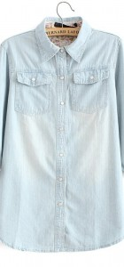 Watering Grinding White Denim Shirts Casual Jeans Blouse -