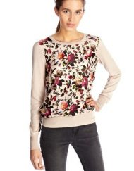 little birds floral Prints Combined Chiffon Casual Knitwear -